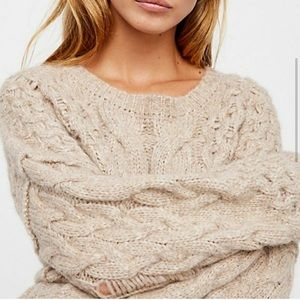 Free People Oversized Destroyed Knit Sweater